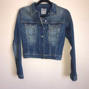Embellished Distressed Blue Jean Jacket